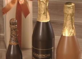 Chocolade champagneflessen bedrukt